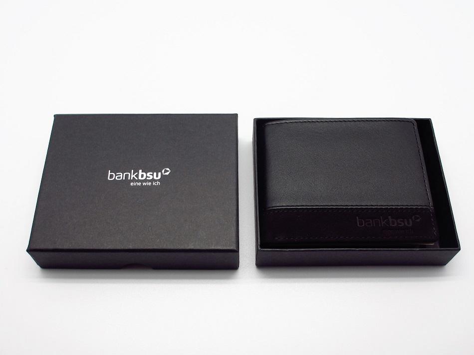 Edles Leder Portemonnaie mit Geschenkverpackung, Logo in Heissfolienprägung