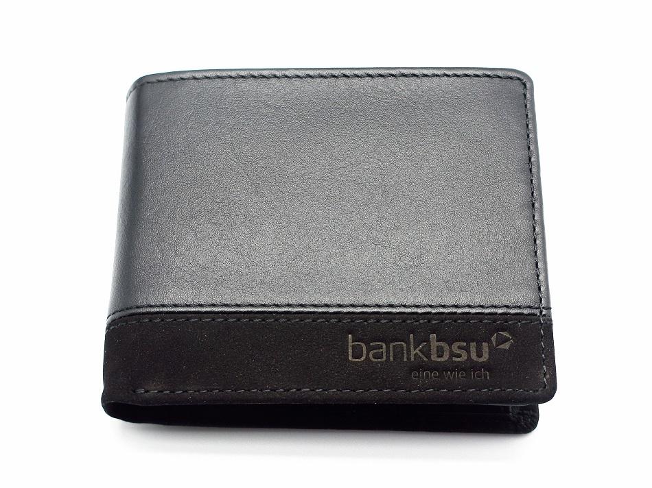 Edles Leder Portemonnaie aus Kalbs- und Veloursleder mit Logo Prägedruck